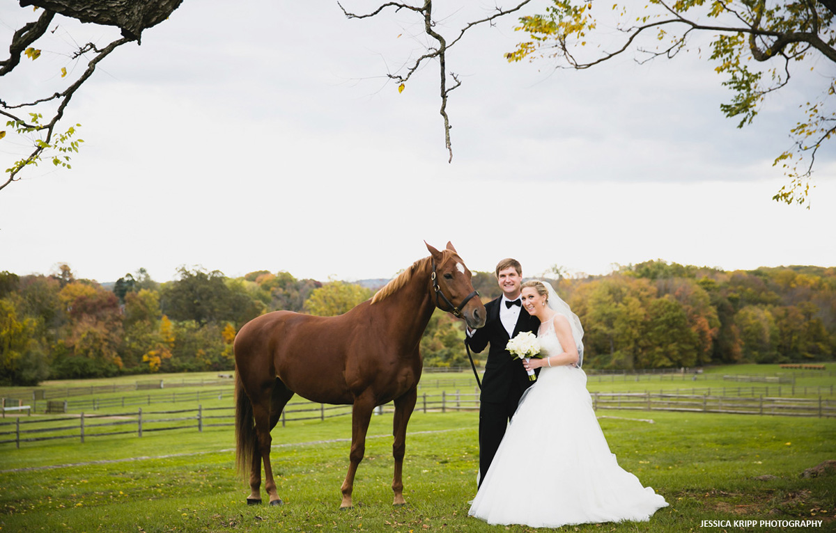 Bride and groom with horse at radnor hunt