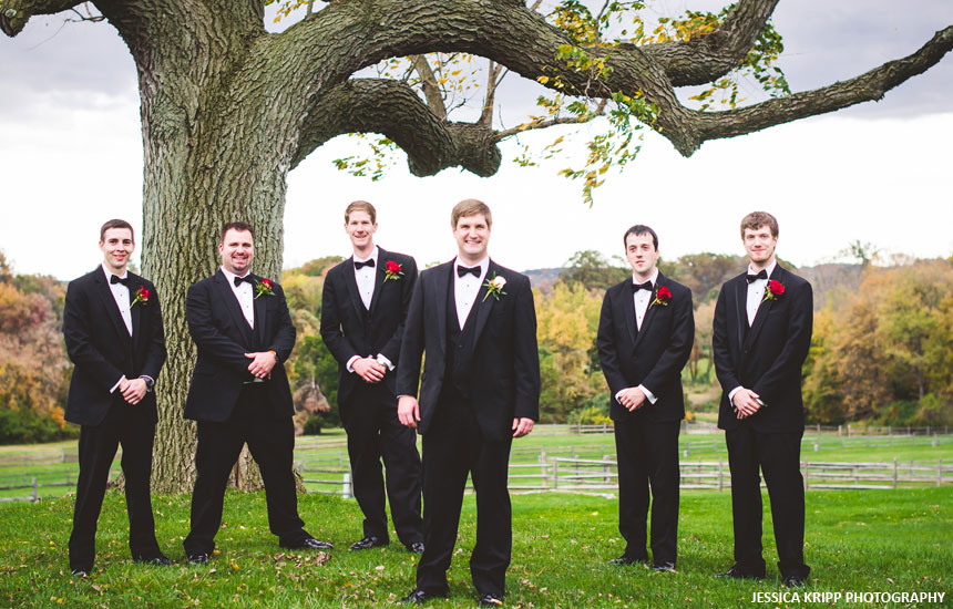 Outdoor photo of the groom and groomsman at Radnor Hunt