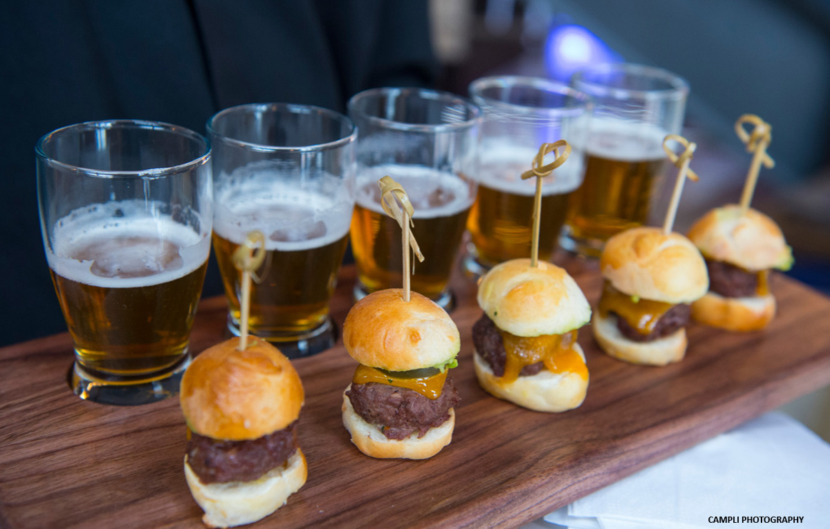 sliders and beer samples