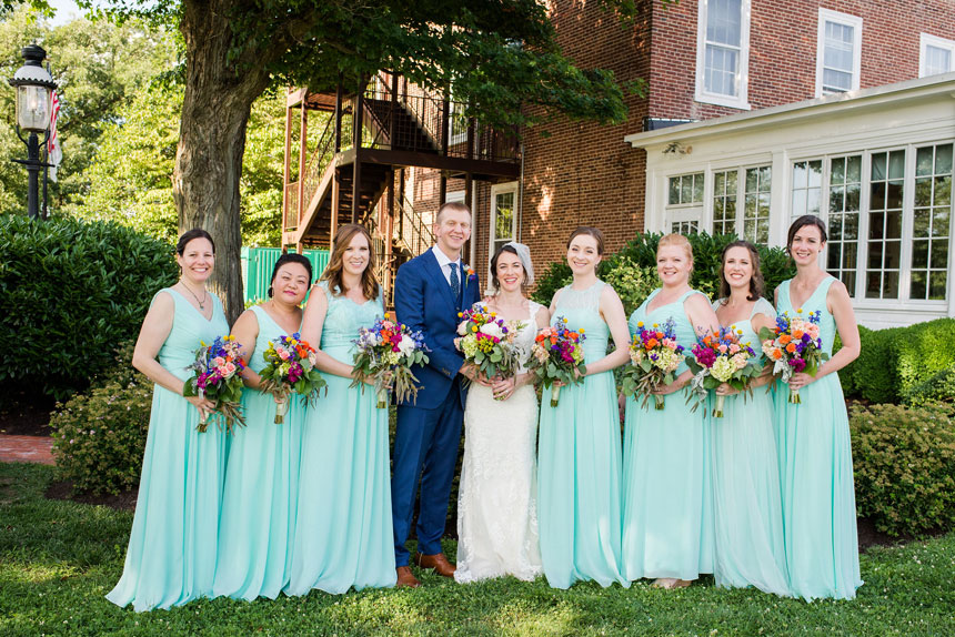 Bridal Party Mint and Bright Blue Tones